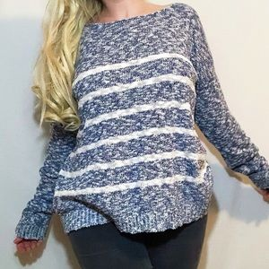 Blue and white striped boat neck knit sweater